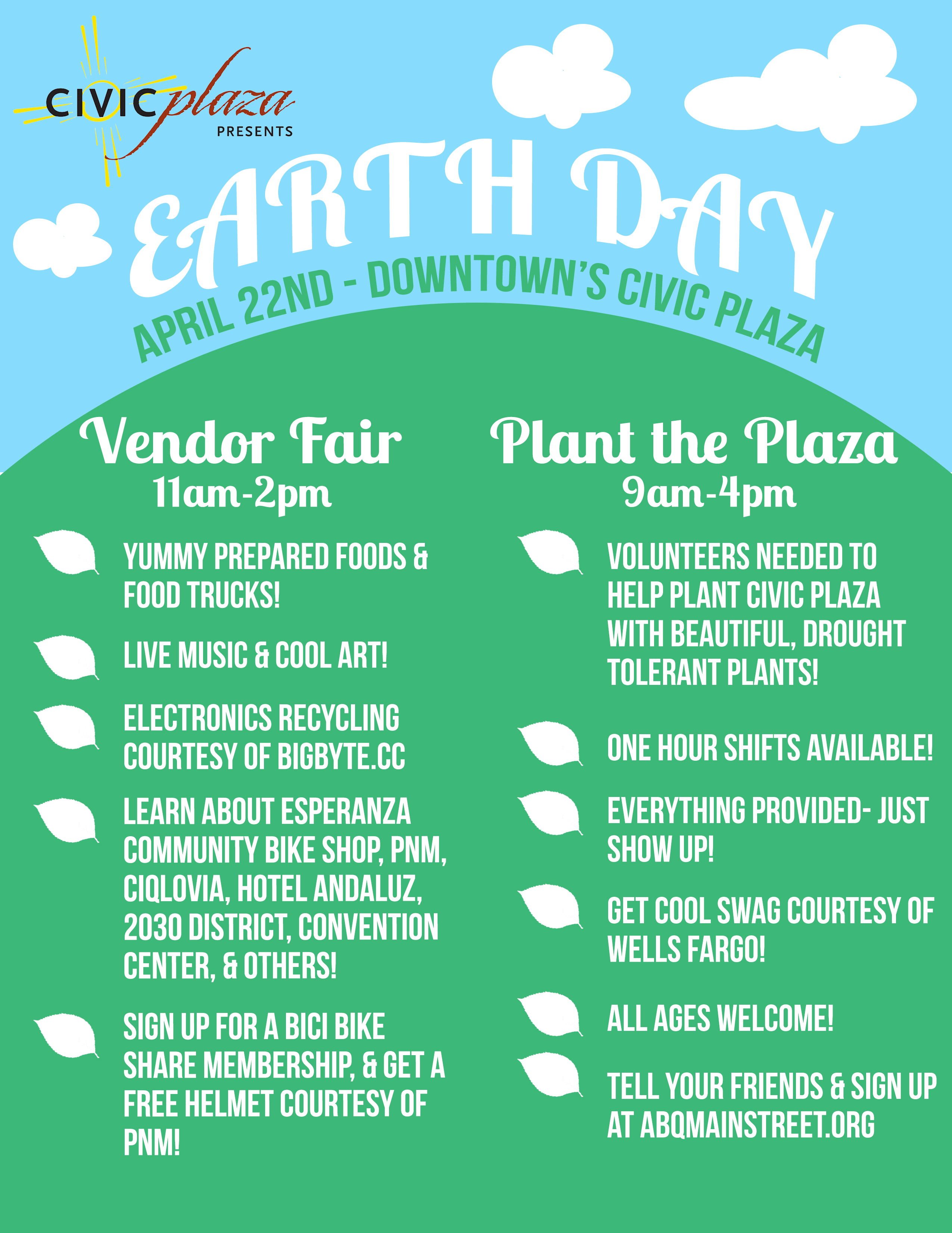 Civic Plaza Earth Day Full Flyer | Downtown Albuquerque MainStreet
