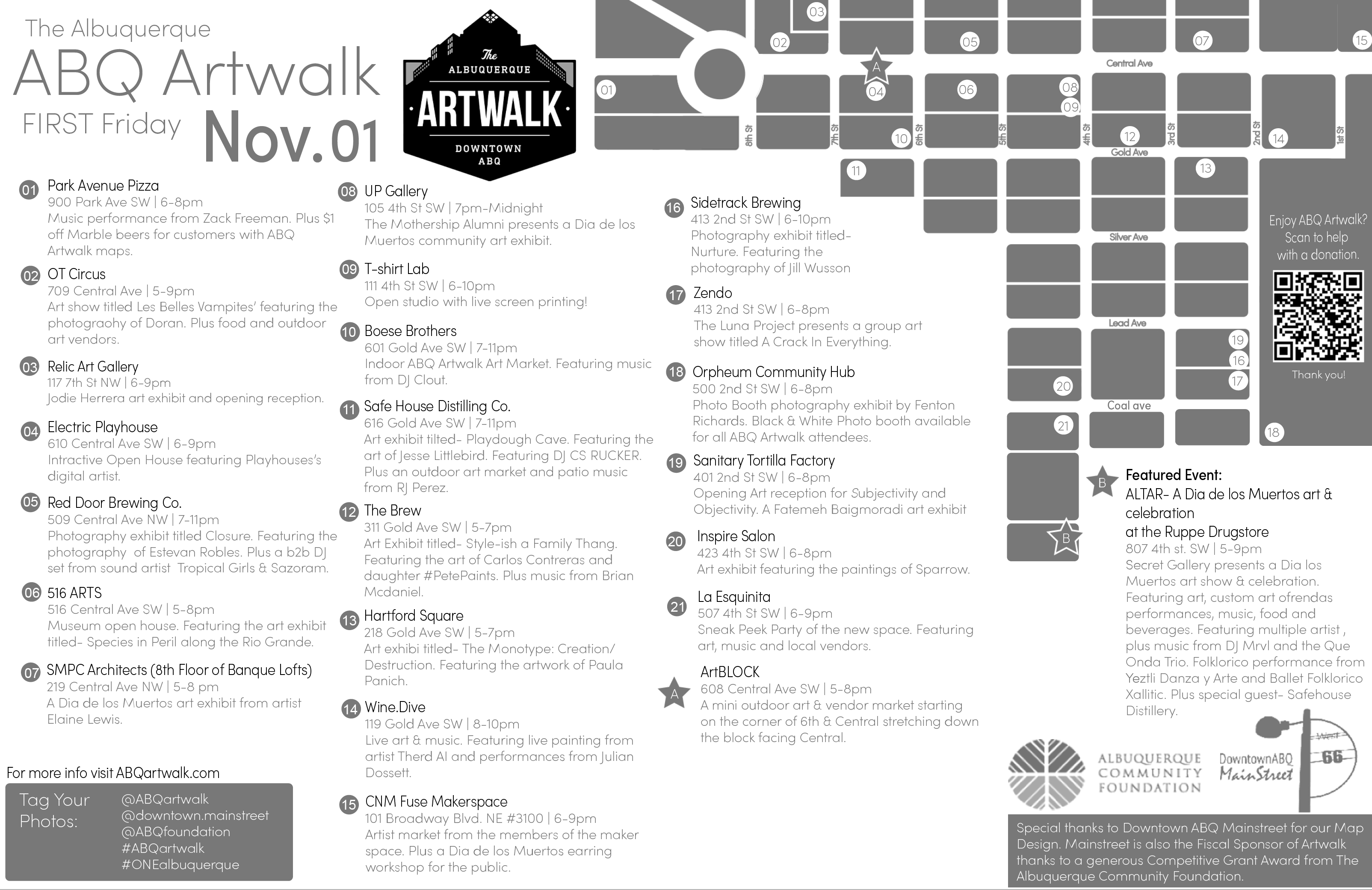 First Friday Map Downtown Albuquerque Mainstreet